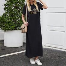 Slogan Graphic Maxi Hooded Tee Dress