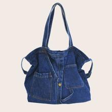 Pocket Detail Denim Tote Bag