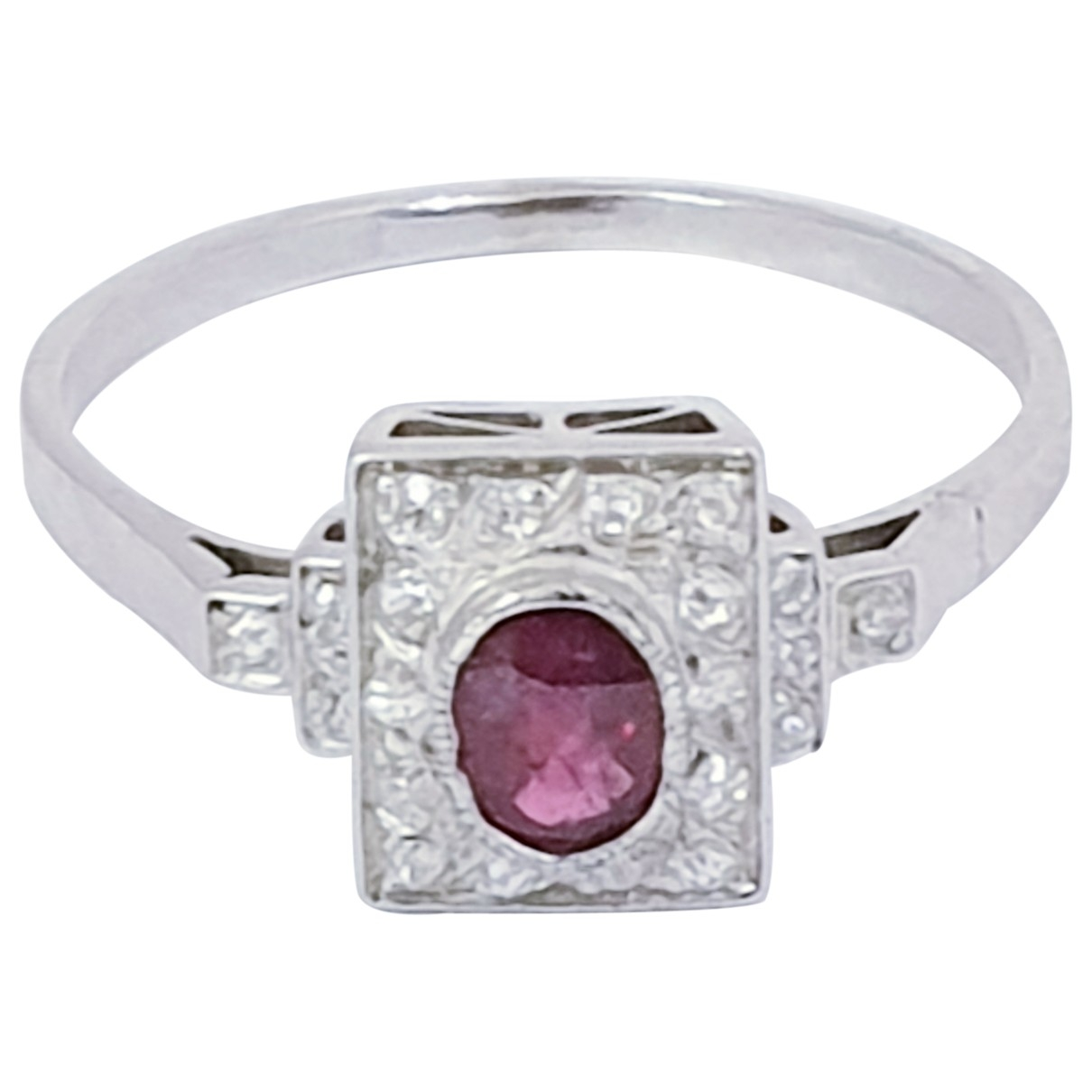 Non Signé / Unsigned Rubis White gold ring for Women \N