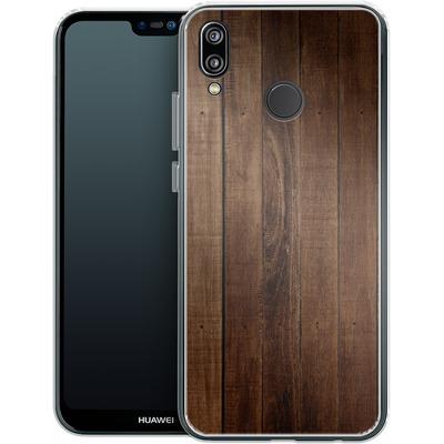 Huawei P20 Lite Silikon Handyhuelle - Dark Wood Floor von caseable Designs