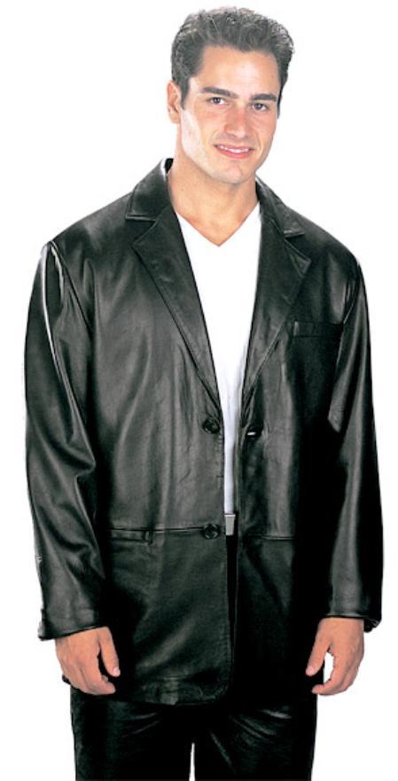 2 Button Classic Mens Top Grade New Zealand Lambskin Blazer Black