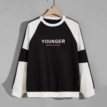 Sweatshirt mit Kontrast Einsatz und Buchstaben Grafik