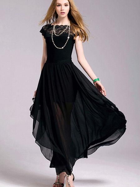 Milanoo Vestido largo negro  Moda Mujer sin mangas de chifon Vestidos con diseño hueco adornado con encaje con escote cuadrado Verano
