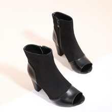 Peep Toe Chunky Heeled Boots
