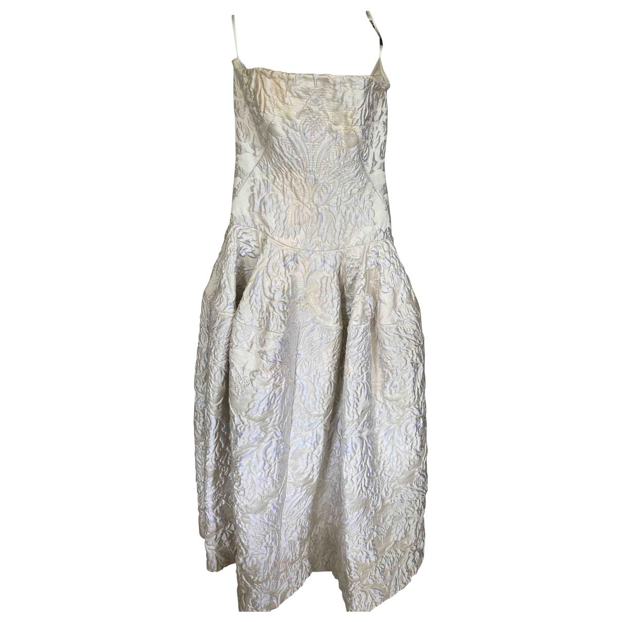 Alexander Mcqueen - Robe   pour femme en soie - beige