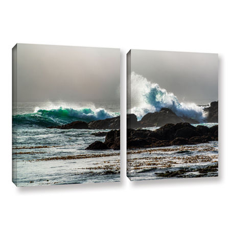 Brushstone The Wave Long Beach 2-pc. Gallery Wrapped Canvas Wall Art, One Size , Gray