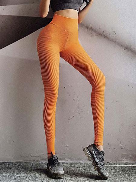 Milanoo Pantalones Oragnge Poliester rojo Pantalones de cintura natural Pantalones de yoga