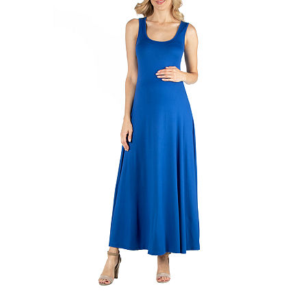 24/7 Comfort Apparel Slim Fit A Line Sleeveless Maxi Dress, 2x , Blue