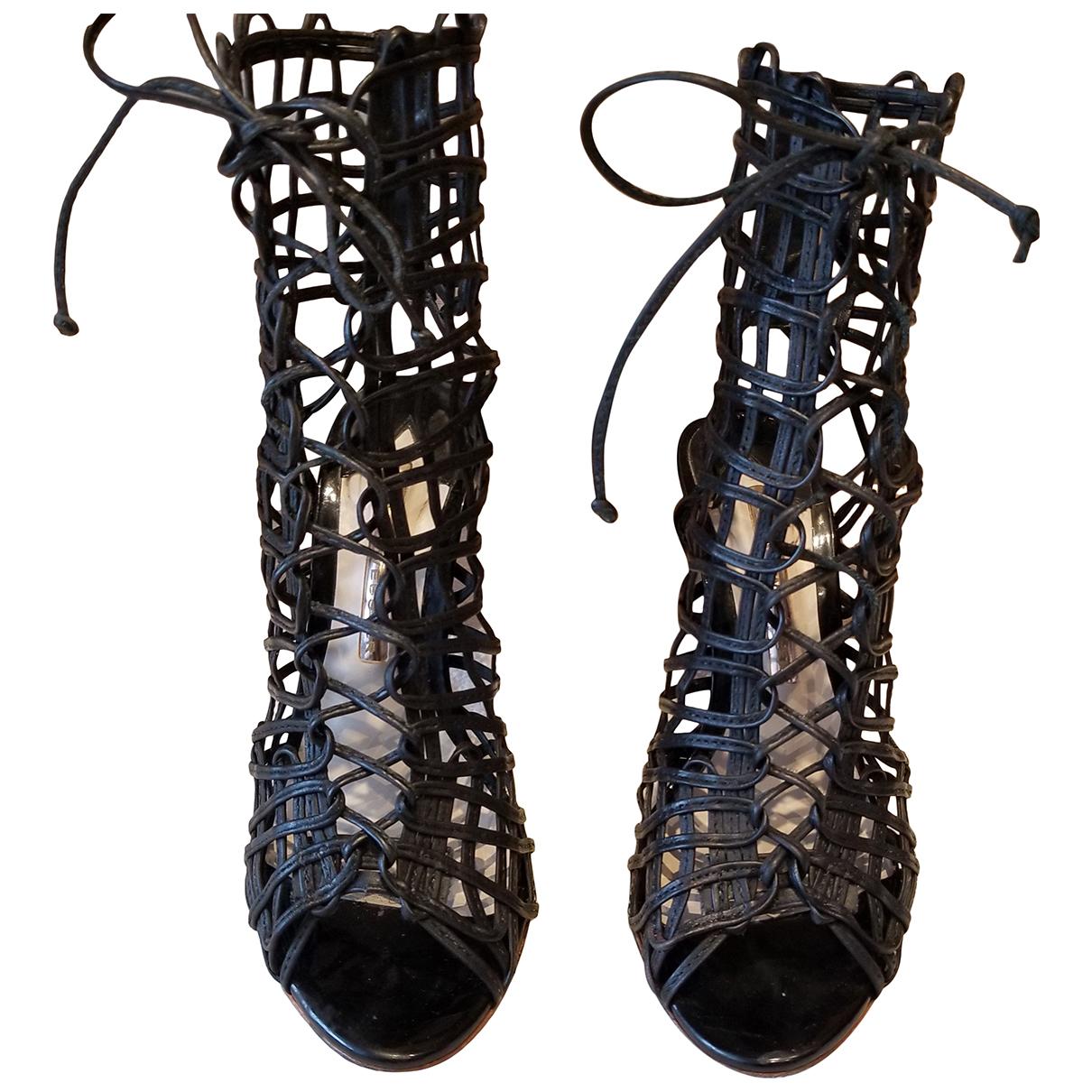 Sophia Webster N Black Leather Sandals for Women 36.5 EU