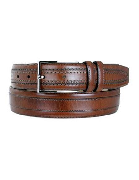 Mezlan Men's Cognac Genuine Leather Satin Nickel Buckle Belt