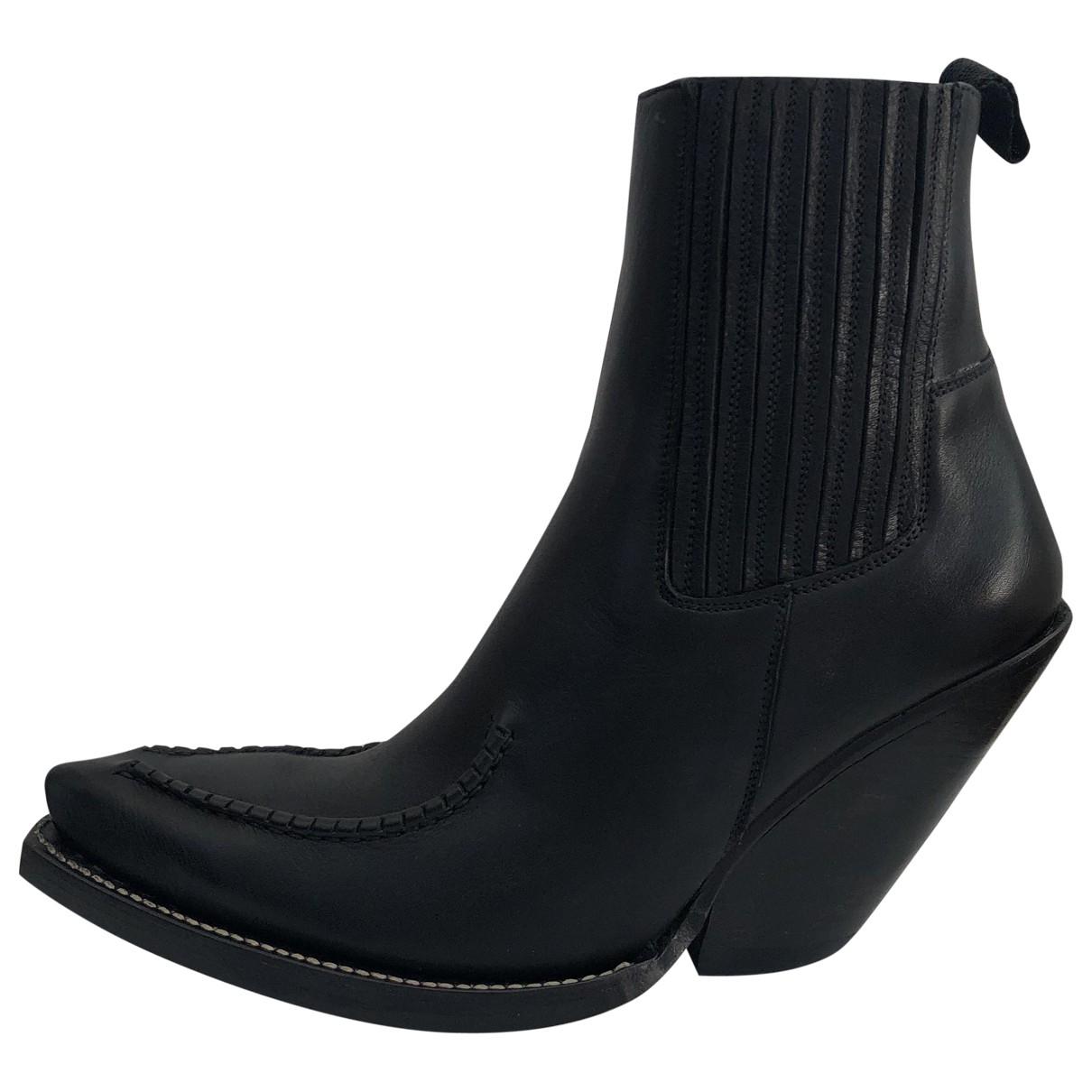 Celine - Boots Cowboy pour femme en cuir - noir