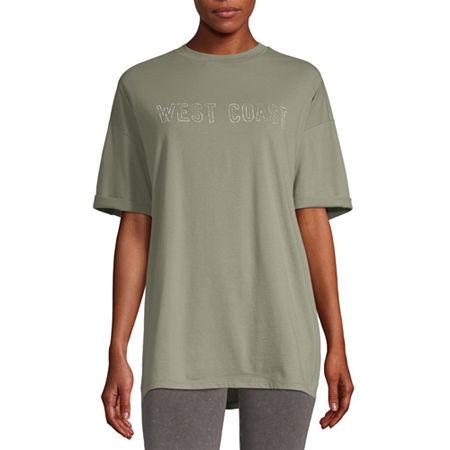 Flirtitude Juniors-Womens Crew Neck Short Sleeve T-Shirt, Medium , Green