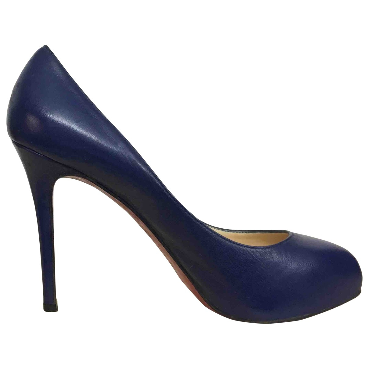 Christian Louboutin \N Navy Leather Heels for Women 37.5 EU