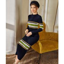 Figurbetontes Kleid mit Streifen Muster