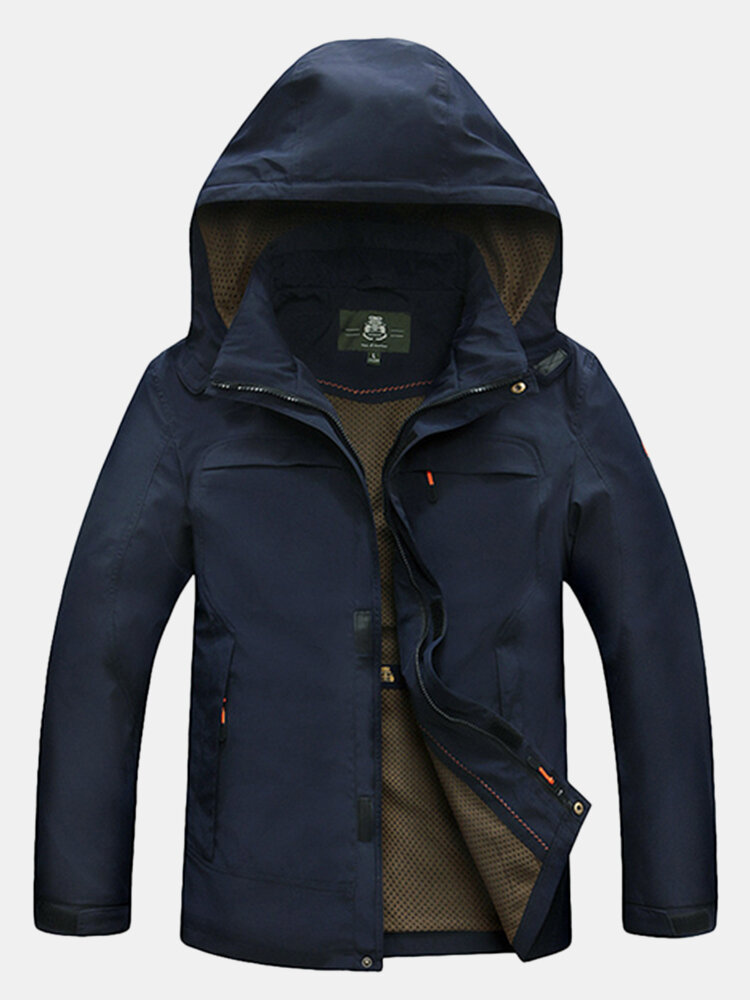 Quick Dry Wind Proof Loose Casual Plus Size Solid Color Hooded Breathable Travel Jacket for Men
