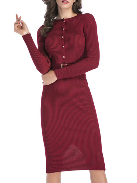 Milanoo Women\'s Knitted Dress Buttons Belt Included Long Sleeves Jewel Neck Red Sheer Midi Dress