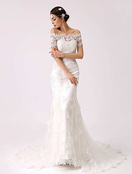 Milanoo Vintage Inspired Off the Shoulder Mermaid Lace Wedding Dress