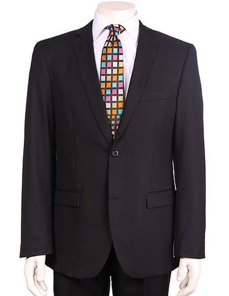 Men's Vitali Single Breasted Authentic 2 Button Black Slim Fit Suit