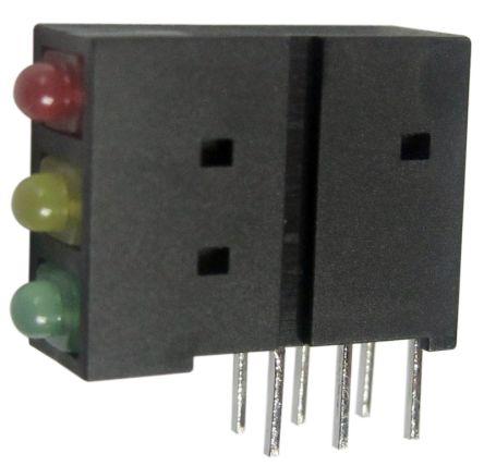 Kingbright L-4060XHA/1I1Y1GD, Green Right Angle PCB LED Indicator, 3 LEDs, Through Hole 2.5 V (5)