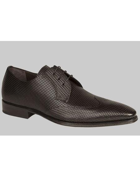 Mens Unique Black Italian Calfskin Wingtip Lace Up Leather Shoes Brand