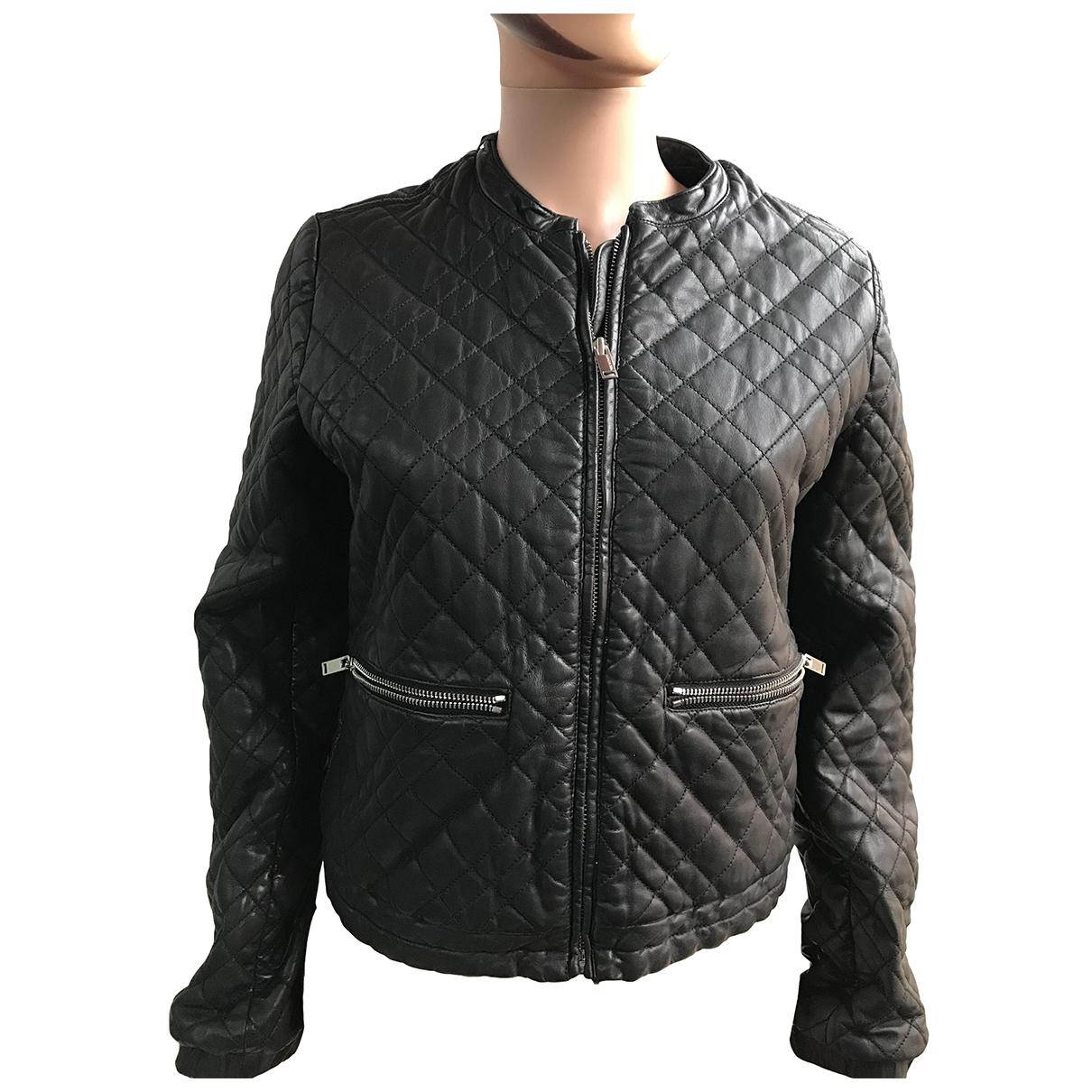 Ikks - Manteau   pour femme en cuir - noir