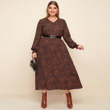 Kleid mit Bluemchen Muster, Ruesche ohne Guertel