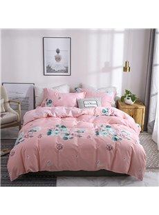 Pink Flower Cotton Duvet Cover Set Full/Queen 4Pcs Skin-friendly Soft Zipper Bedding