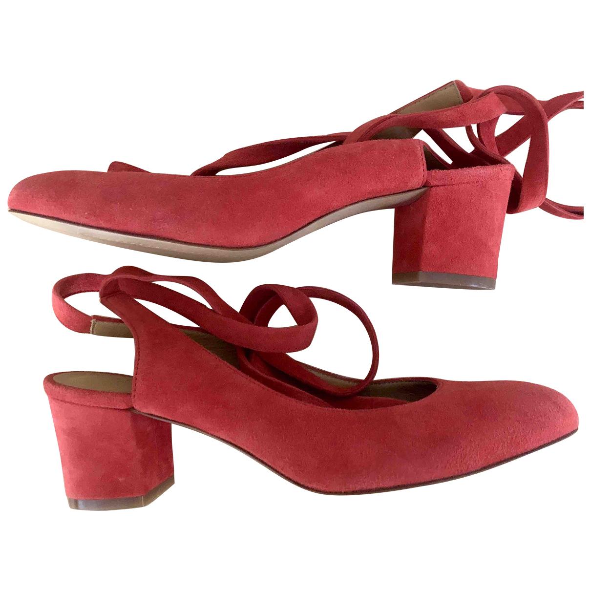 Sezane - Escarpins   pour femme en suede - rouge