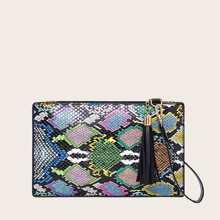 Tassel Decor Snakeskin Print Clutch Bag