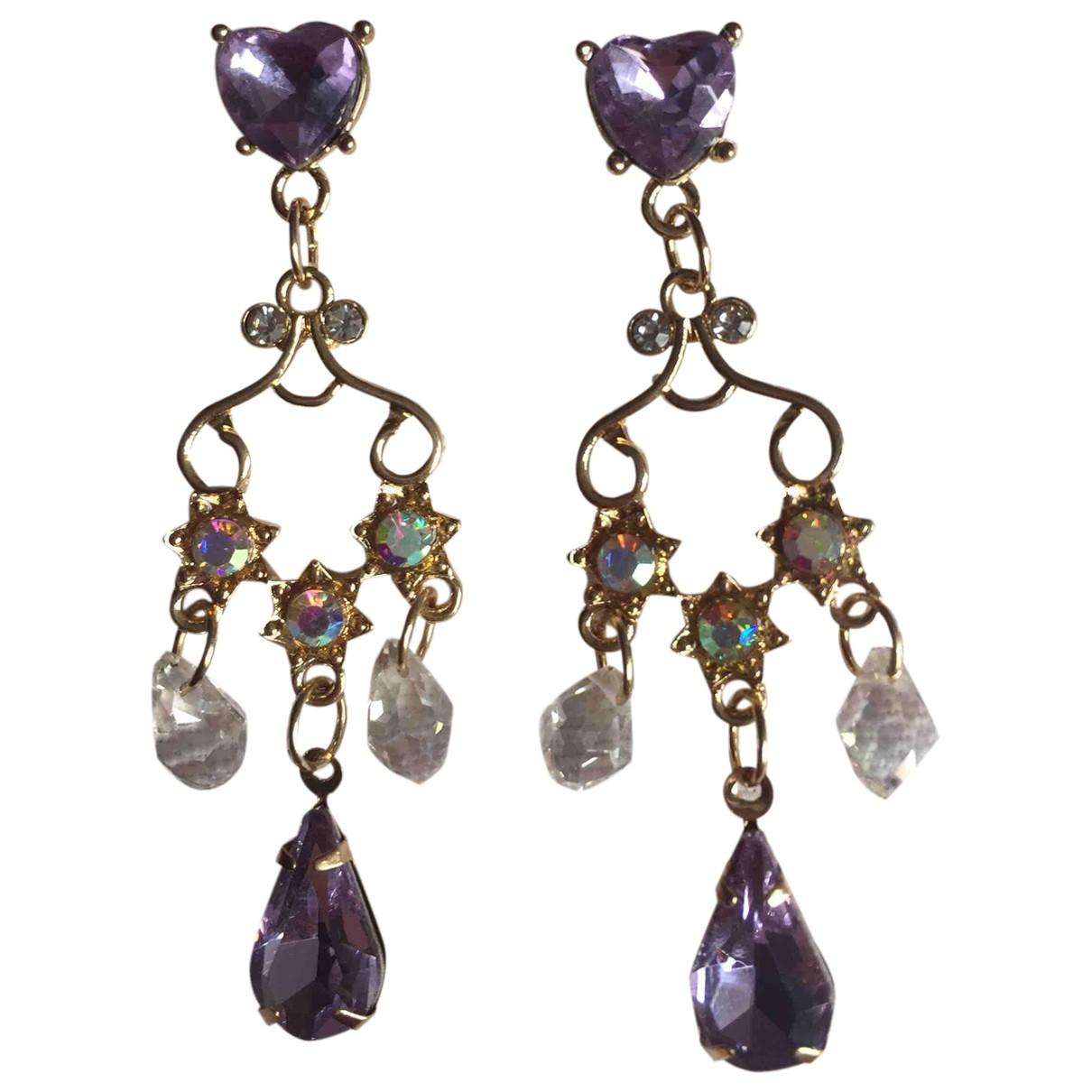 - Boucles doreilles Art Deco pour femme en metal - violet