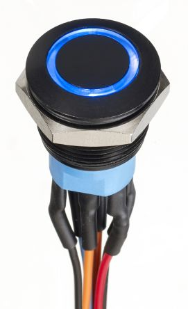 APEM Double Pole Double Throw (DPDT) Momentary Blue LED Push Button Switch, IP67, 19.2 (Dia.)mm, Panel Mount, 30V dc