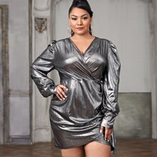Plus Metallic Surplice Front Fitted Dress