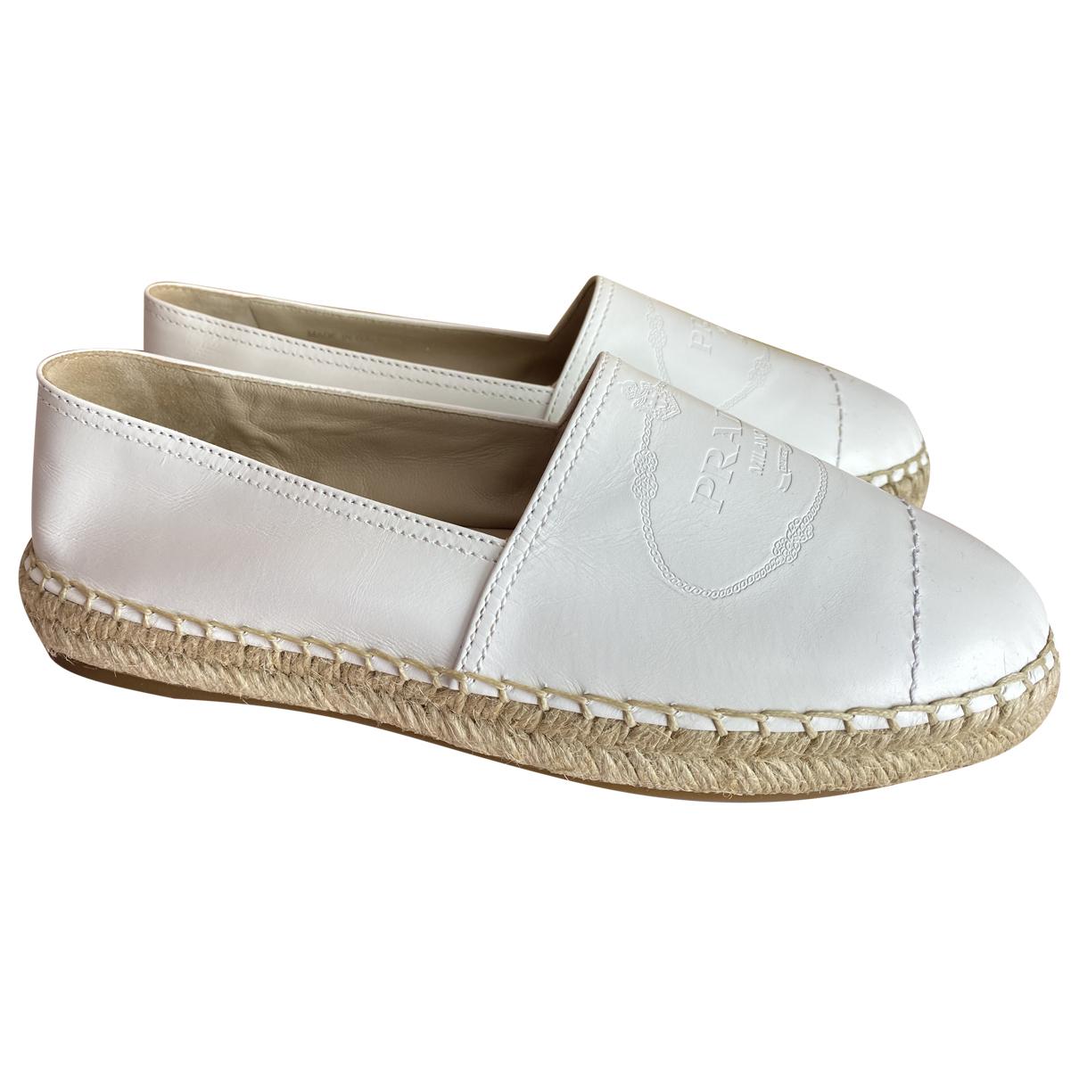 Prada \N White Leather Espadrilles for Women 40.5 EU