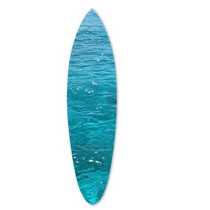 BM220214 Wooden Surfboard Wall Art with Ocean Print  Glossy