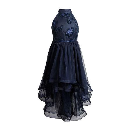 Emily West Big Girls Sleeveless Party Dress, 10 , Blue