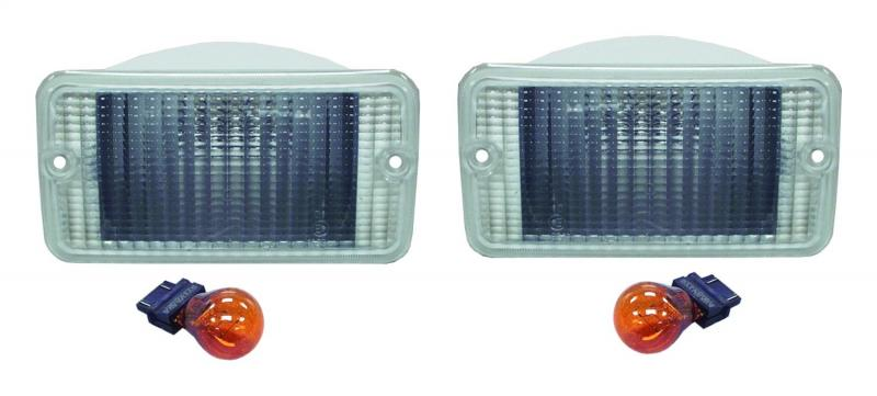 RT Offroad RT28016 Clear Park & Turn Signal Lamp Set for Jeep TJ Wrangler; Clear Lamps, Amber Bulbs Jeep Front Right