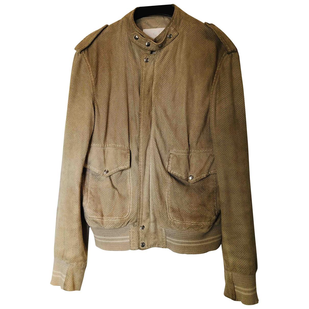 Non Signe / Unsigned Epaulettes Jacke in  Khaki Veloursleder
