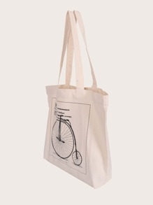 Bolsa de compra con estampado de letra y bicicleta