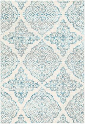 Apricity APY-1023 53 x 76 Rectangle Traditional Rug in Sky Blue  Pale Blue  White  Medium
