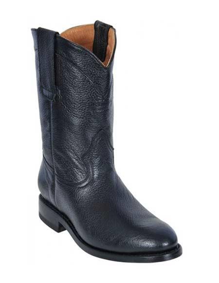 Los Altos Black Mens Deer Roper Leather Rubber Sole Boots