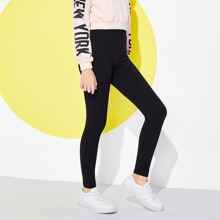 Girls Elastic Waist Solid Pants