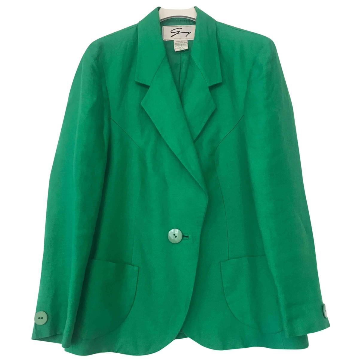 Genny - Veste   pour femme en lin - vert