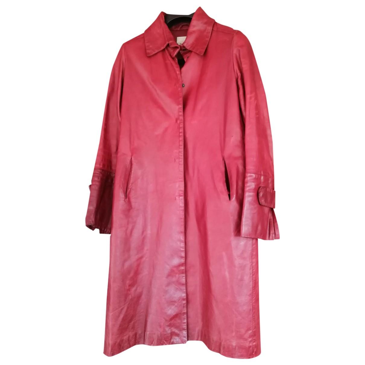 Flavio Castellani N Burgundy Leather coat for Women 44 IT