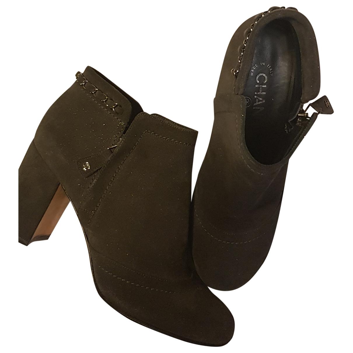Chanel - Boots   pour femme en suede - anthracite