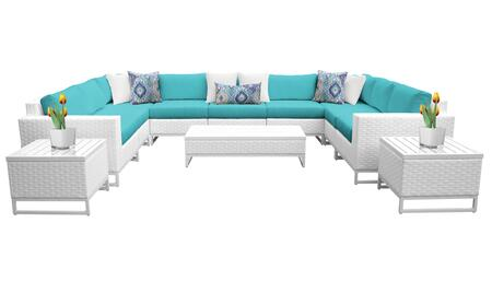 Miami MIAMI-12a-ARUBA 12-Piece Wicker Patio Furniture Set 12a with 2 Corner Chairs  5 Armless Chairs  2 End Tables  1 Coffee Table  1 Left Arm Chair