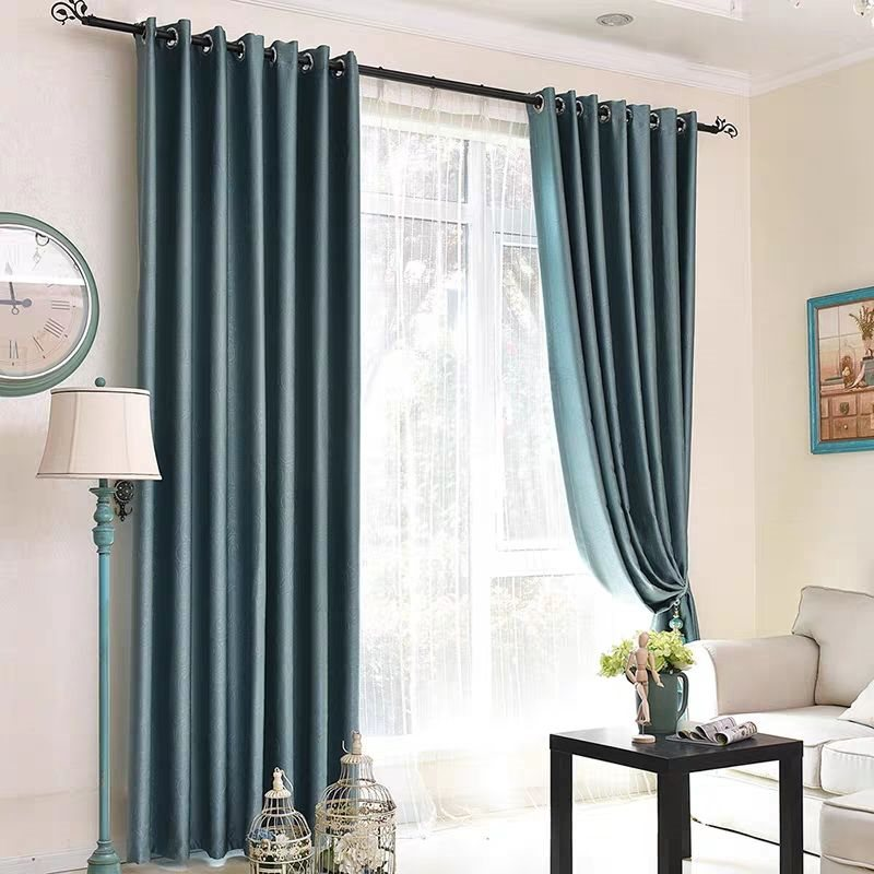 Modern Simple Silky Blackout Custom Grommet Curtains for Living Room Bedroom