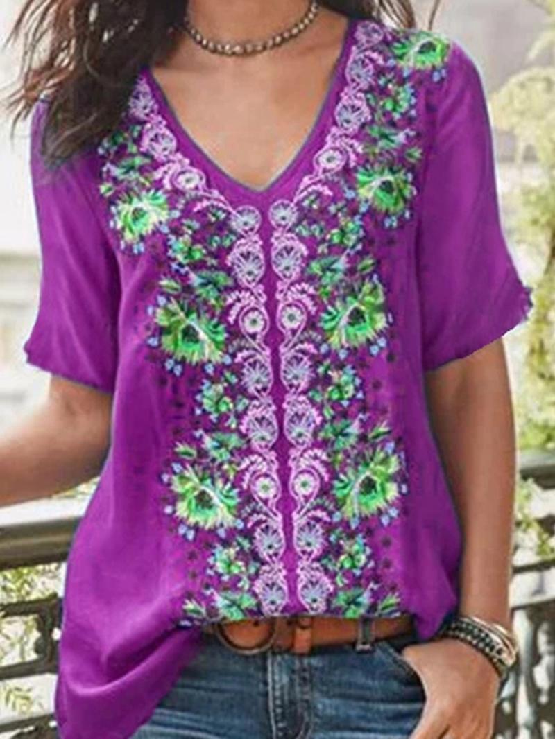 Ericdress Short Sleeve V-Neck Floral Summer Casual T-Shirt