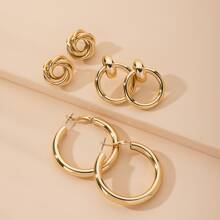3pairs Round Earrings Set