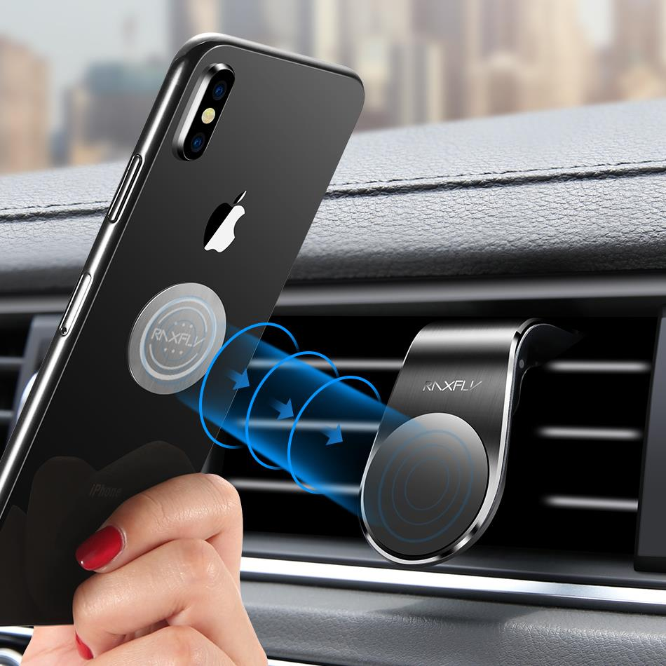 RAXFLY Metal Air Vent Magnetic Car Mount Car Phone Holder For 4 Inch-7 Inch Smart Phone iPhone XS Max Samsung Galaxy S10
