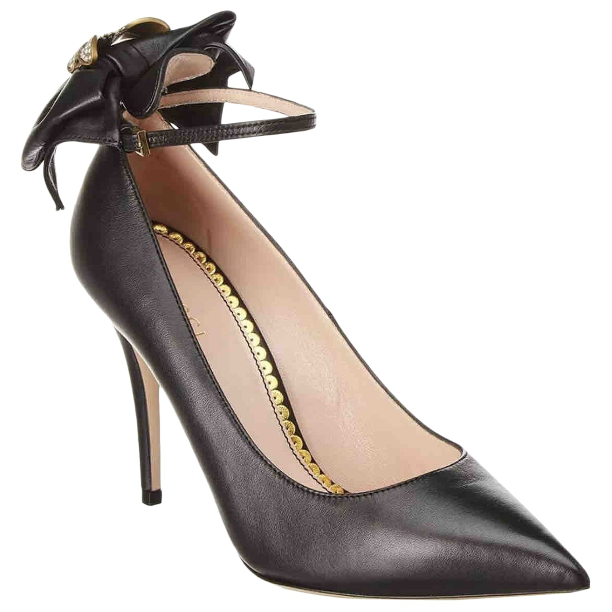 Gucci Marmont Black Leather Heels for Women 39 IT